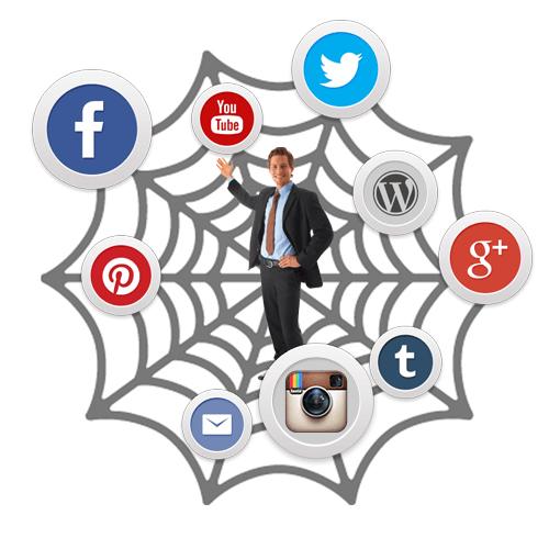 man in social media web