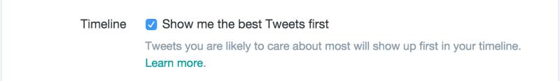 Туитър функция първо най-добрите туитове
