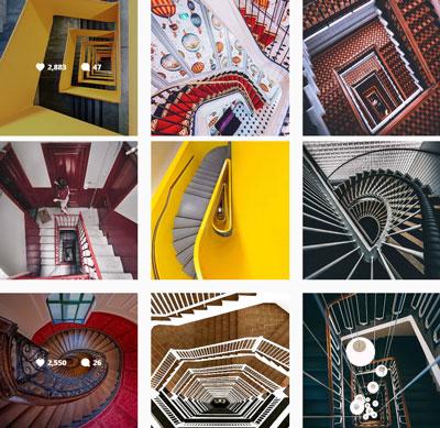 Инстаграм акаунт с спираловидни стълби